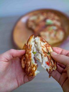 Korean Bindaetteok (mung Bean Pancakes) recipe by Michael Kitson Great Vegan Recipes, Vegetarian Recipes, Snack Recipes, Free Recipes, Snacks, Vegan Foods, Vegan Dishes, Vegan Korean Food, Candida Recipes