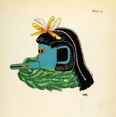 1941 Lithograph New Mexico Arizona Pueblo Indian Ceremonial Upoyona Mask Zuni #vintage #mask #tribal