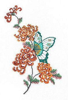 Chrysanthemum and Butterfly Cross Stitch Kit by Heather Anne Designs for Classic Embroidery