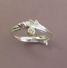 Oak Twig Engagement Ring in Sterling Silver 18k Gold by esdesigns