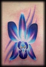 Blue orchid tattoo-my favorite flower. This is like what I want for my side to back tat, but it would be a whole plant with a bunch of blooms.