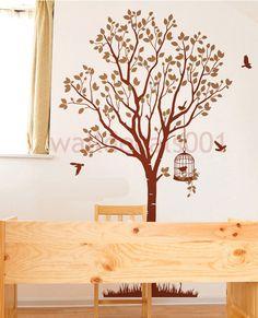 Vinyl  wall decal, sticker ,wall decor-lovely tree with birds. $65.00, via Etsy.