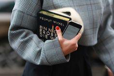 A novel clutch. #StreetStyle accessories at Paris Fashion Week #PFW