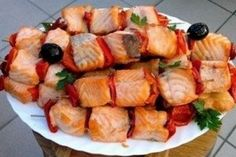 Skewers of salmon with chilli