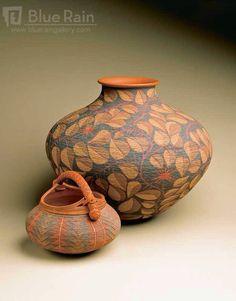 Basket and bottle by Richard Zane Smith