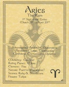 ARIES ZODIAC POSTER  Wicca Pagan Witch Witchcraft BOOK OF SHADOWS Astrology picclick.com