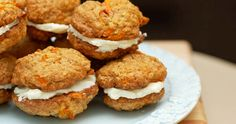carrot cake sandwich cookies with cream cheese filling- These look awesome. It is kind of like a carrot cake whoopie pie. Cookie Desserts, Cookie Recipes, Dessert Recipes, Cream Cheese Cookies, Cream Cheese Filling, Milk Recipes, Sweet Recipes, Carrot Cake Sandwich Cookies, Cookie Sandwiches