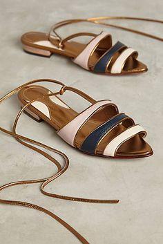 Luiza Perea Metallic Tricolor Flat Sandals