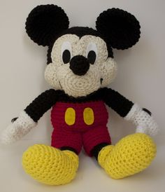 Mickey Mouse Crochet Pattern | Knitting Bordado Mickey Mouse Doll, Mickey Mouse Crafts, Crochet Mickey Mouse, Disney Mouse, Disney Crafts, Crochet Diy, Crochet Amigurumi, Amigurumi Patterns, Crochet Crafts