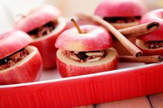 Healthy cinnamon baked apples with tangerines and cranberries recipe for Thanksgiving.