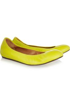 #Lanvin leather ballet flats in chartreuse leather, $550