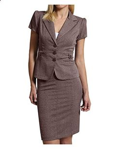 LE3NO Womens Fitted Blazer and Skirt Suit Set  Go to the website to read more description.