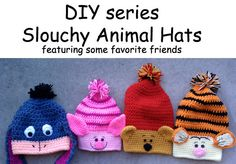 Crochet pattern, DIY series, slouchy animal hats, permission to sell