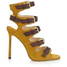 JIMMY CHOO Trick 110 Amber Suede And Dark Brown Leather Buckled Sandals. #jimmychoo #shoes #s