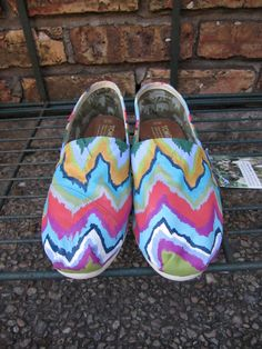 Weeping CHEVRON HandPainted Toms by pinstripesNparasols on Etsy
