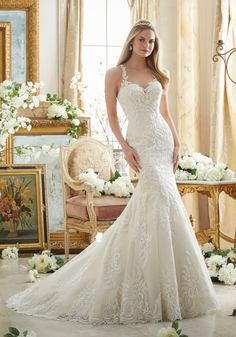STYLE NUMBER: 2876 Embroidered Lace on Soft Net with Wide Hemline Morilee Bridal Wedding Dress