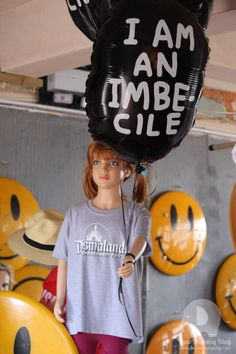 I am an imbecile balloon at Dismaland. www.dearmummyblog.com REVIEW
