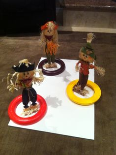 Harvest Autumn Fall Halloween Party Games Toss the ring around the scarecrow. Foam wreath rings to toss and stand up scarecrows hot glued to a baseboard. Have fun!