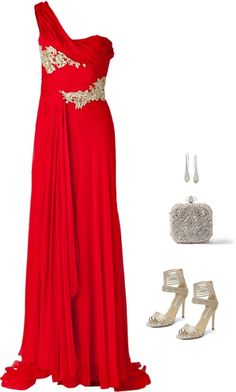 SevenRoses: Marchesa, Silk Embellished One Shoulder Gown in Red