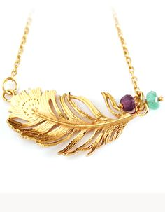 Feather necklace.