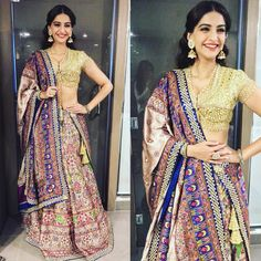 Sonam Kapoor has been promoting her new film 'Prem Ratan Dhan Payo' in color and style. Here are few of her looks. Which is your favorite? Look 1 : I. Saris, Indian Attire, Indian Wear, Bride Indian, India Fashion, Asian Fashion, Women's Fashion, Fashion Outfits, Indian Dresses