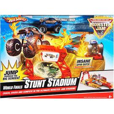 Hot Wheels Monster Jam World Finals Stunt Stadium Set, Monster Jam . Monster Track, Monster Jam, Toy Model Cars, Oh Yeah Baby, Die Games, Spin Out, S Car, Stunts, Kids And Parenting