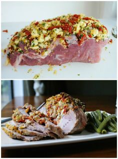 Roast Pork Loin Stuffed with Sun-Dried Tomatoes and Mozzarella Cheese is a delicious roast that is made by creating deep pockets in the meat and then stuffing them with a sun-dried tomato and mozzarella mixture that is bursting with fresh Italian flavor.