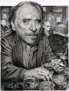 Charles Bukowski Illustration by Drew Friedman Henry Charles Bukowski, Story Writer, Marvel Characters, Fictional Characters, American Poets, Cool Books, Character Wallpaper, Black And White Abstract, Guys Be Like
