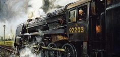 The 'Black Prince' (Terence Cuneo) (being driven by Sir Richard Summers who was formerly a director of the London, Midland and Scottish railway). Train Posters, Railway Posters, Steam Art, Heritage Railway, Old Steam Train, Holland, Steam Railway, Train Art, Train Pictures