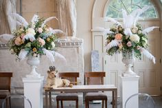 Wedding Planning, Co-ordination & Styling by Vanilla Rose Weddings, Oxford | Feather Ceremony Urn Floral Arrangements | Aynhoe Park | Photography by Barrie Downie