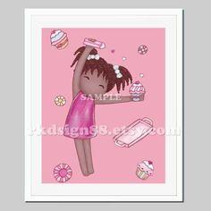 African art nursery art, baby girl nursery decor, childrens art for kids wall art, girls wall art Title: Making Cupcakes 2 - African  Date: 2011  Size: