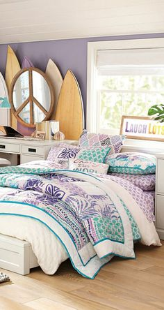 I Digging the layered mirrors. Island Floral Girl's Patchwork Quilt Bedding #girls #rooms