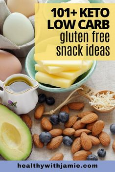 Keto, Low Carb & Gluten Free Healthy Snacks - Healthy with Jamie Gluten Free Recipes Videos, Gluten Free Recipes For Lunch, Diet Dinner Recipes, Gluten Free Diet, Keto Recipes, Keto Snacks, Healthy Snacks, Sugar Free Diet, Recipe Ideas