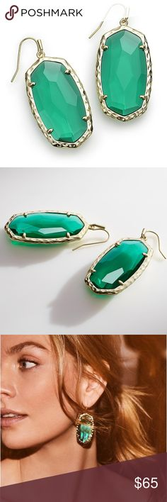 """Kendra Scott Ella Drop Earrings In Emerald Glass NWOT, never worn. With brilliant light-catching facets and hammered metallic detail, the Ella Drop Earrings in Emerald Glass are a lightweight statement made for everyday wear. Includes gift box.  • 14K Gold Plated Over Brass • Size: 2.2""""L x .95""""W on earwire • Material: emerald clear glass  Please note: Due to the one-of-a-kind nature of the medium, exact color patterns may vary slightly from the image shown. Kendra Scott Jewelry Earrings"""