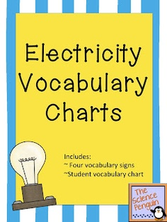 The Science Penguin: Electricity Vocabulary Freebie Science Vocabulary, Science Resources, Science Lessons, Science Education, Teaching Science, Science Activities, Science Ideas, Teaching Resources, Teaching Ideas