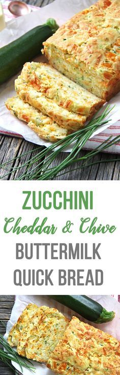 This Zucchini, Cheddar Cheese & Chive Buttermilk Quick Bread is a great addition to your dinner table! In about 1 hour you can have fresh baked bread to serve alongside your soups, stews or casseroles. Vegetarian Recipes, Cooking Recipes, Healthy Recipes, Korean Recipes, Simple Recipes, Delicious Recipes, Italian Recipes, Cooking Tips, Weight Watcher Desserts