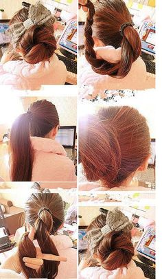 twisted bun. Love the bow