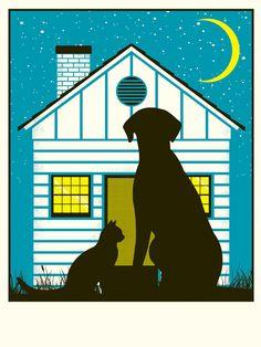 Rescue Dog and Cat Digital Art Print. $10.00, via Etsy.