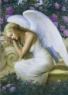 A beautiful angel bowing in prayer to God!