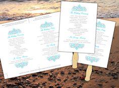 "Printable Beach Wedding Program Fan Template Microsoft Word | Malibu Blue Gray Turquoise ""Cella"" | EDITABLE TEXT | Custom Color & Sizing by PaintTheDayDesigns, $10.00"