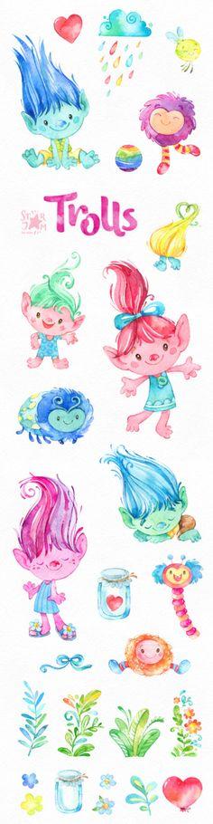 Trolls. Watercolor clip art cute characters Poppy dolls