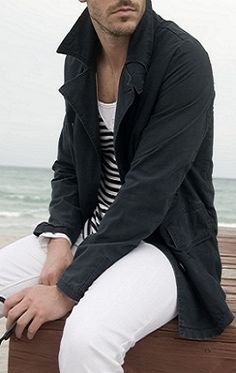 """Sailor inspired t-shirt with an easy cotton trench and white jeans. The combo just looks """"right""""."""