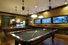 game room. i love the fish tank