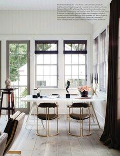 Great corner space.  Vintage chairs.  White walls (white dove) gray trim (Galveston Gray)