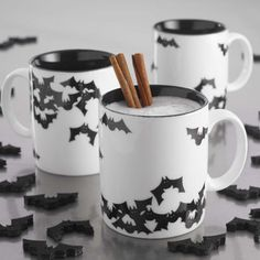 The Halloween Halloween bat white porcelain mug cup milk glass coffee cup fll of personality- Coffee Cups, Tea Cups, Goth Home, Gothic Home Decor, Gothic House, Cute Mugs, Mugs Set, Mug Cup, Tea Set