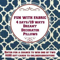 Online Fabric Store Pillow Challenge and Giveaway