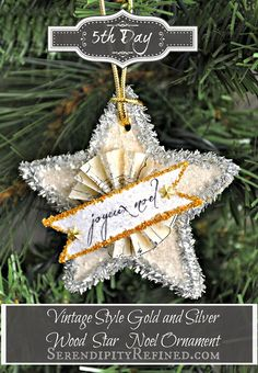 Serendipity Refined: Vintage Style Glitter Star {Ornament Day 5}