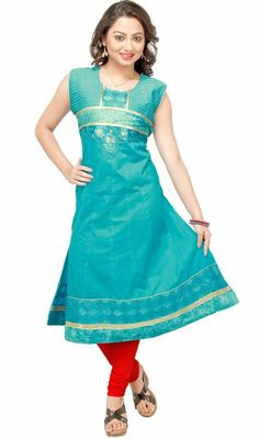 Look graceful and attractive dressed in this cyan blue cotton kurti. This stunning attire is displaying some incredible embroidery done with lace, resham and velvet patch work.  #LatestClassicalKurtis