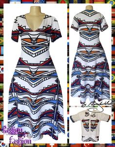184ff36e1029 Long Ndebele flowy modern traditional dress with a V neckline and short  sleeves with a matching