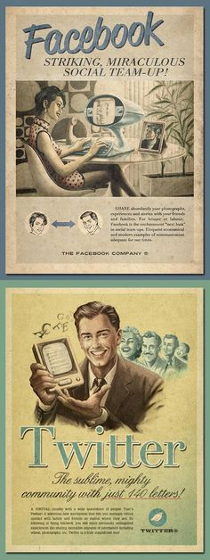 Facebook and Twitter goes retro-futurist in these vintage ads.